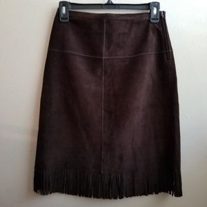 Genuine Leather Suede Skirt